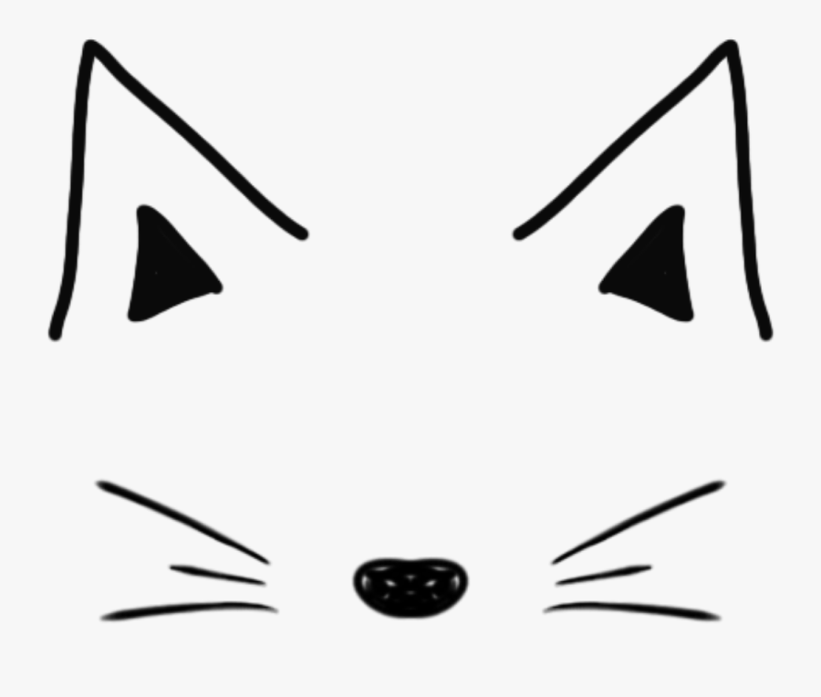 #cat #mask #tumblr #doddle #black #white #simple #ftestickers - Filtros Snapchat Cute Png, Transparent Clipart
