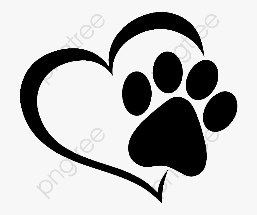 Love And Cat Prints - Paw Print And Love Heart, Transparent Clipart