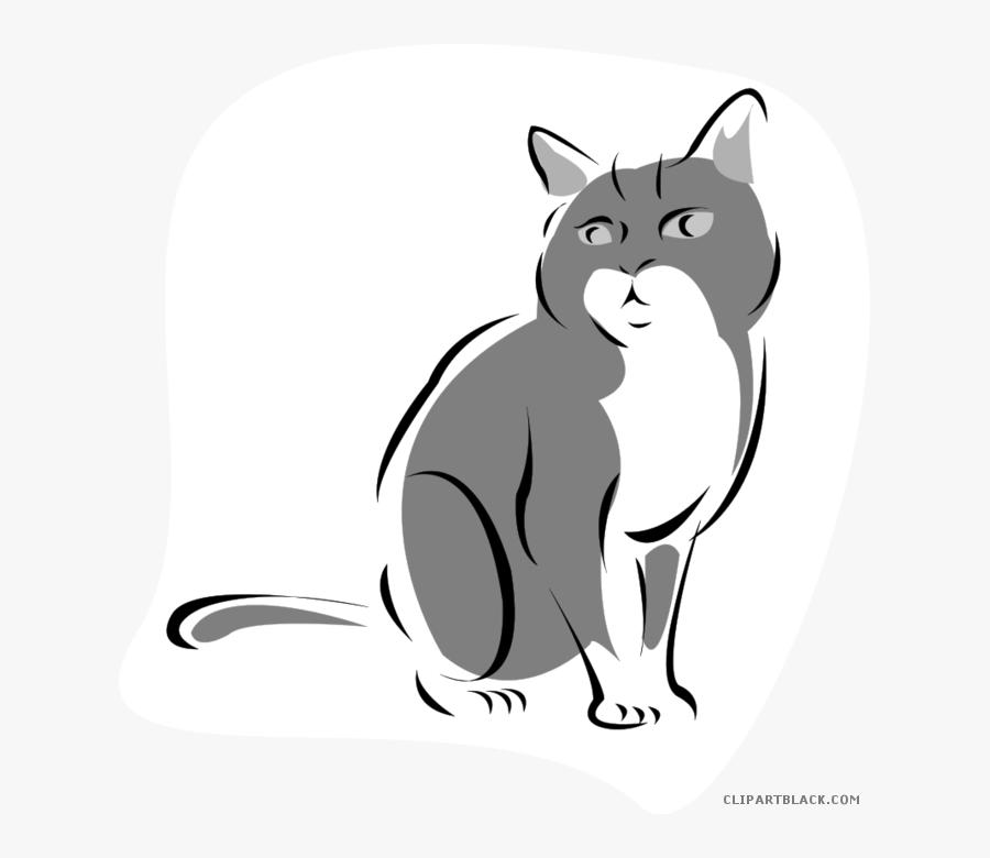 Grey Cat Clipart - Cat Cartoon Gif Png, Transparent Clipart