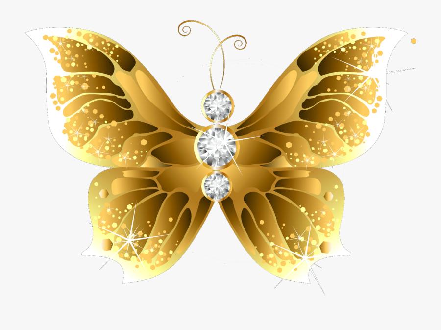 Butterfly Net Insect Gold Clip Art - Golden Butterfly Png, Transparent Clipart