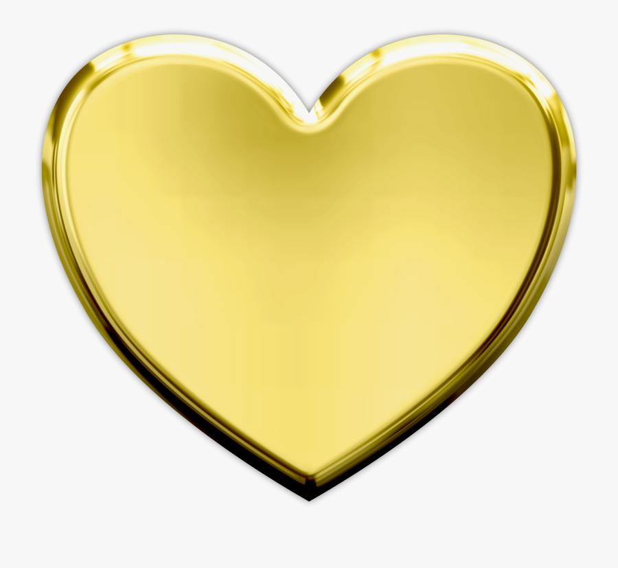 Heart Gold Clip Art - Gold Heart Png, Transparent Clipart