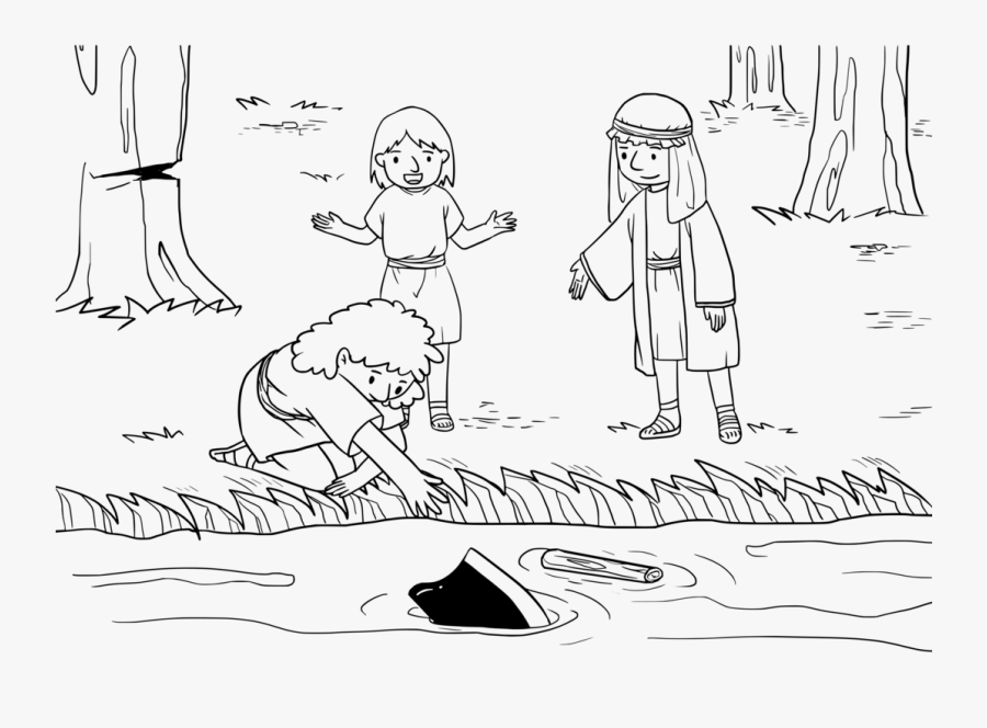 Emotion,art,people - Elisha And The Ax Head Coloring Page, Transparent Clipart