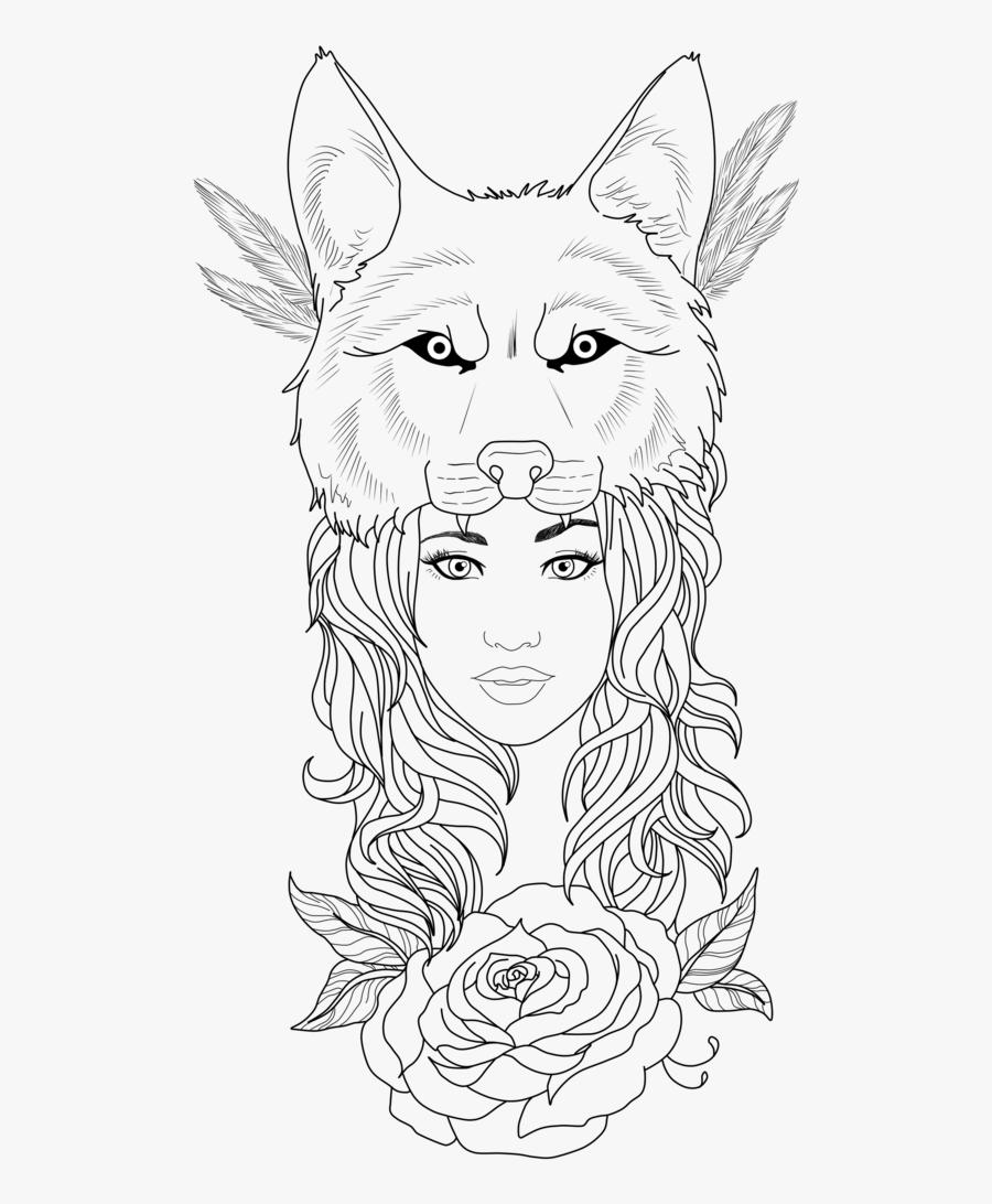 Wolf Tattoos Clipart Girl - Girl Wolf Tattoo Designs, Transparent Clipart