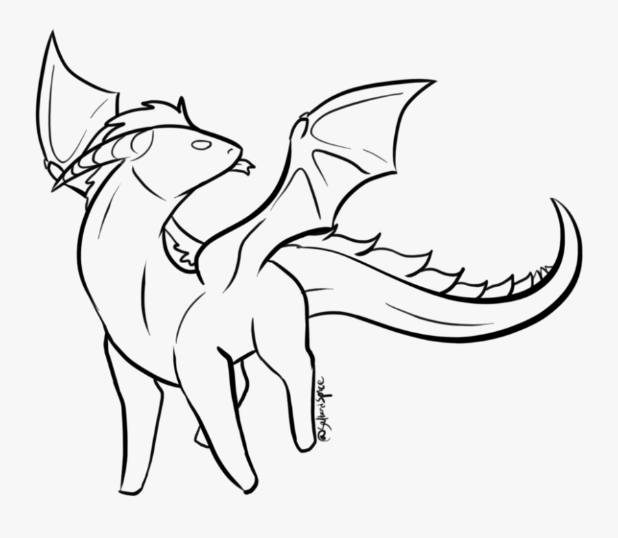 Clip Art Simple Lizard Drawing - Simple Dragon Lineart, Transparent Clipart