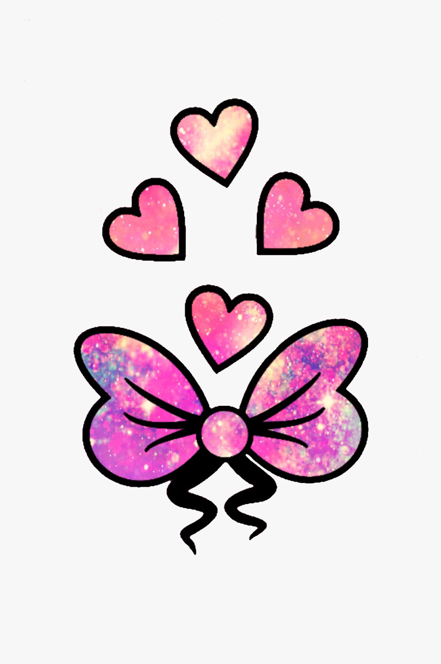 Transparent Girly Bow Clipart - Glitter Cute Love Hearts, Transparent Clipart