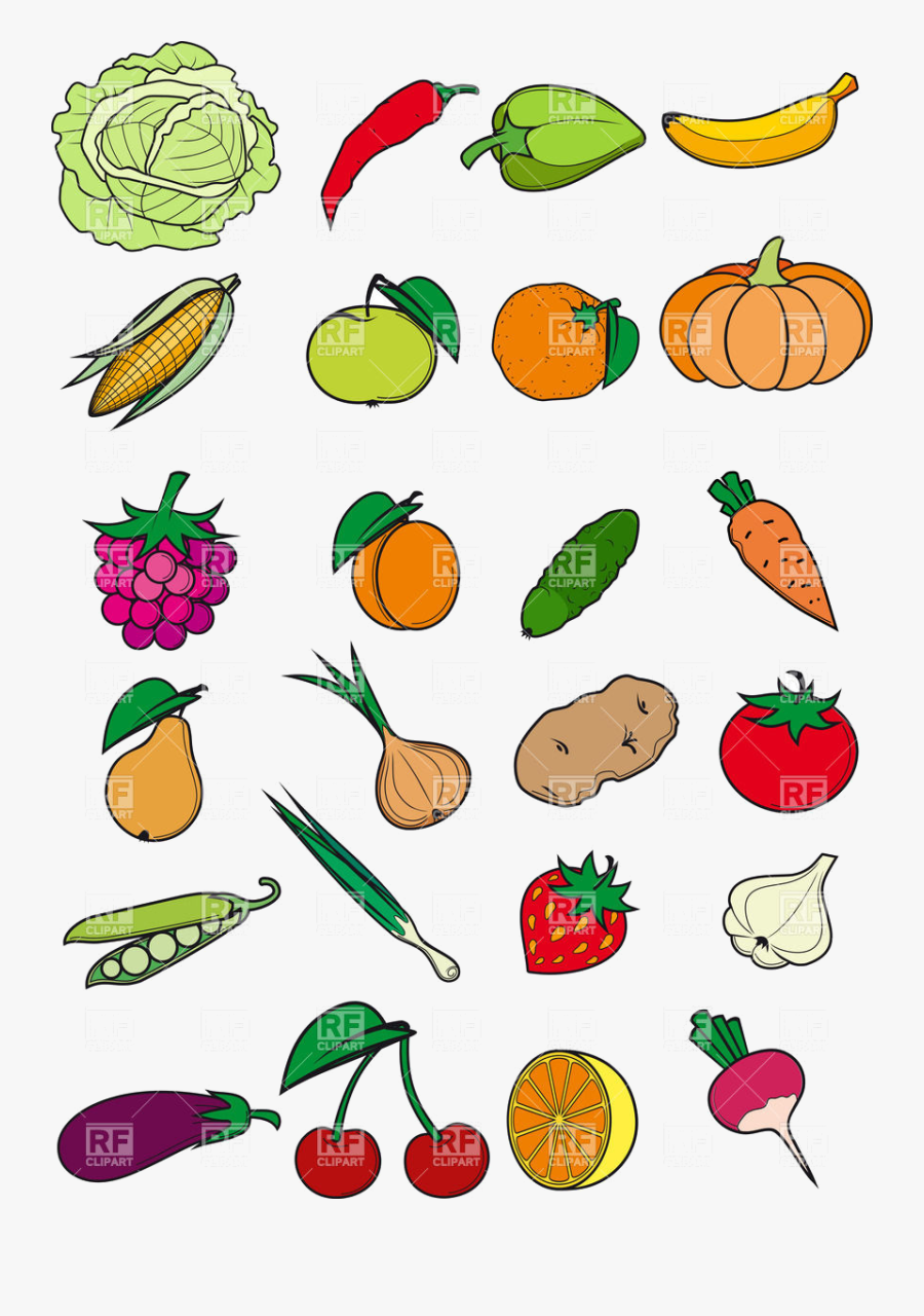 Healthy Food Vegetables Fruits And Berries In Cartoon - Cartoon Pictures Of Healthy Foods, Transparent Clipart