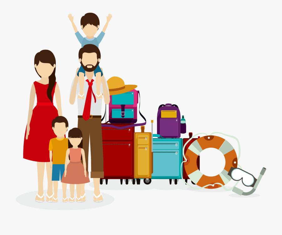 旅行五口之家矢量素材下载- Family Traveling Vector Clipart , Png - Travelling With Family Cartoon, Transparent Clipart