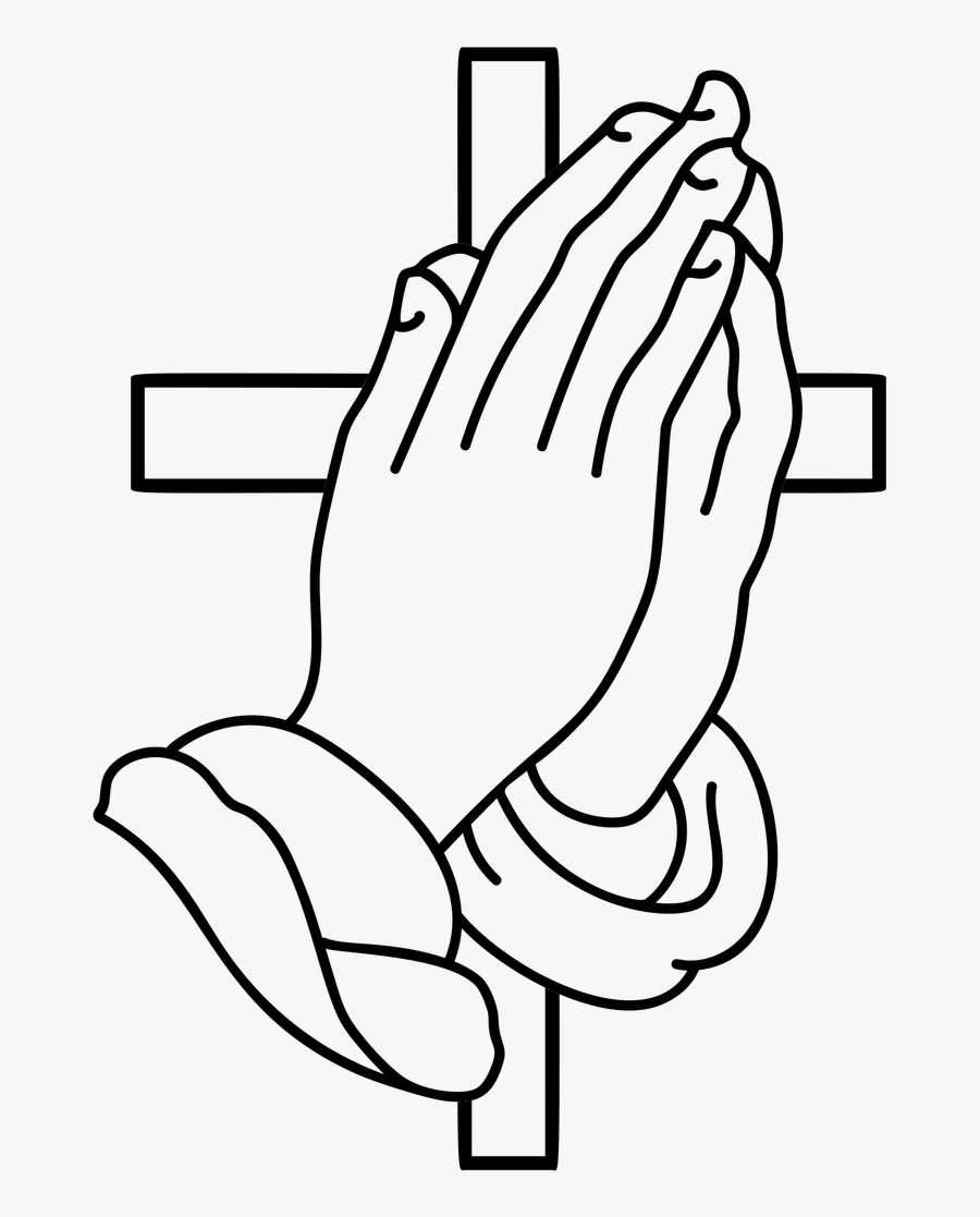 Praying Hands Lineart Black And White - Praying Hands Cross, Transparent Clipart