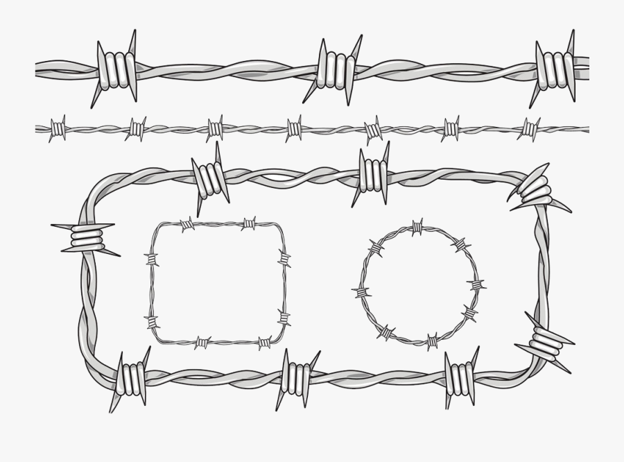 Clip Art Barbed Wire Drawing - Barbed Wire Line Drawing, Transparent Clipart