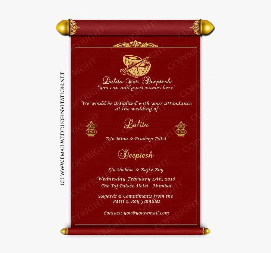 Clip Art Hindu Wedding Invitation Cards - Wording Indian Hindi Wedding Invitation, Transparent Clipart