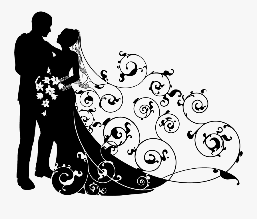 Wedding Couple Clipart Black And White - Bride And Groom Background, Transparent Clipart