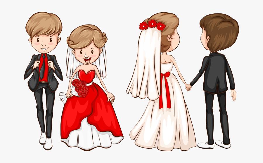 Transparent Grooming Clipart - Wedding Couple Cartoon Png, Transparent Clipart