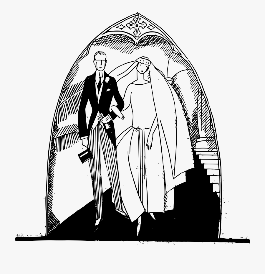 Wedding Couples Image Drawing, Transparent Clipart