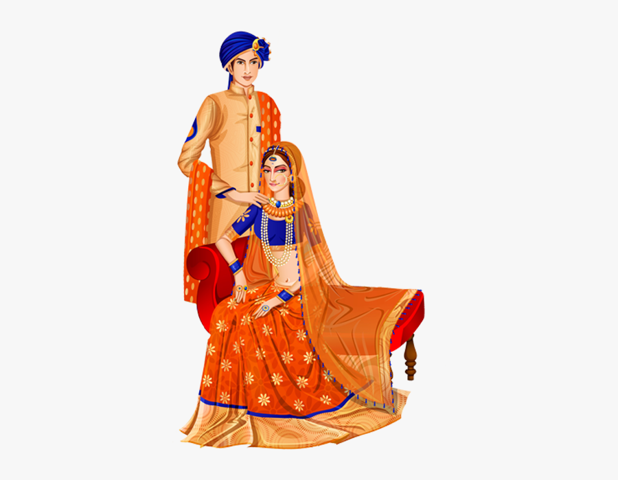 Indian Wedding Couple Png - Indian Wedding Couple Cartoon, Transparent Clipart