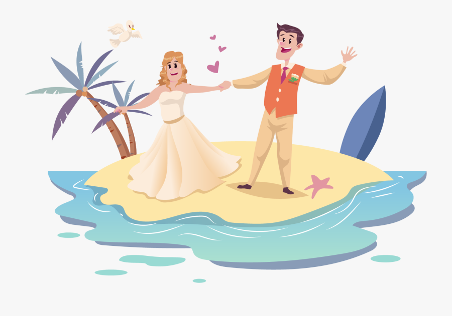 Weddings Free Clipart Happy Couple Wedding Couple Cartoon Beach Free Transparent Clipart Clipartkey