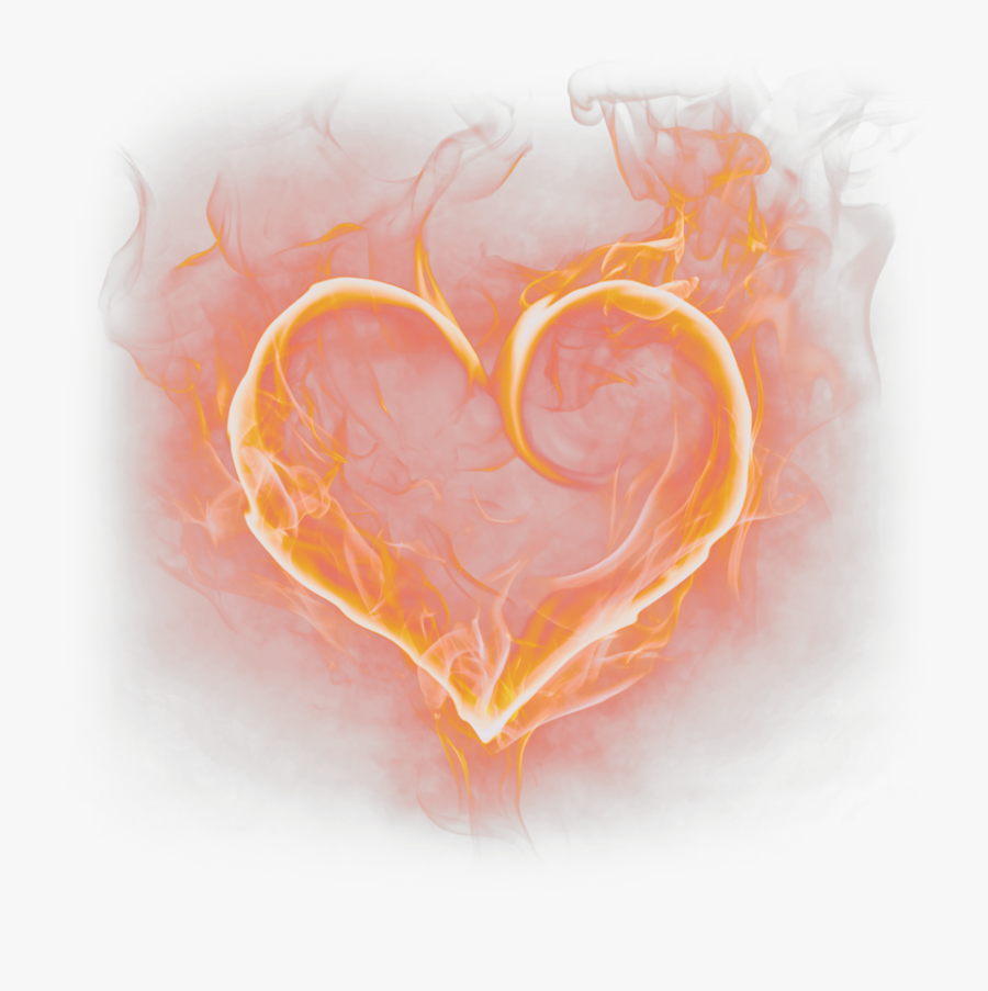 #orange #fire #fireflames #flames #flame #heart #burning - Heart On Fire Png, Transparent Clipart