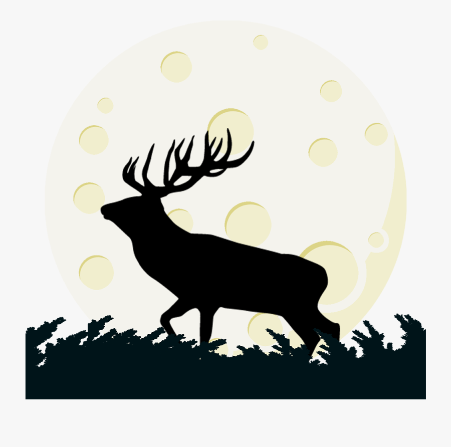 Buck Deer And Moon Transparent Clipart Png Elk Png - Portable Network Graphics, Transparent Clipart