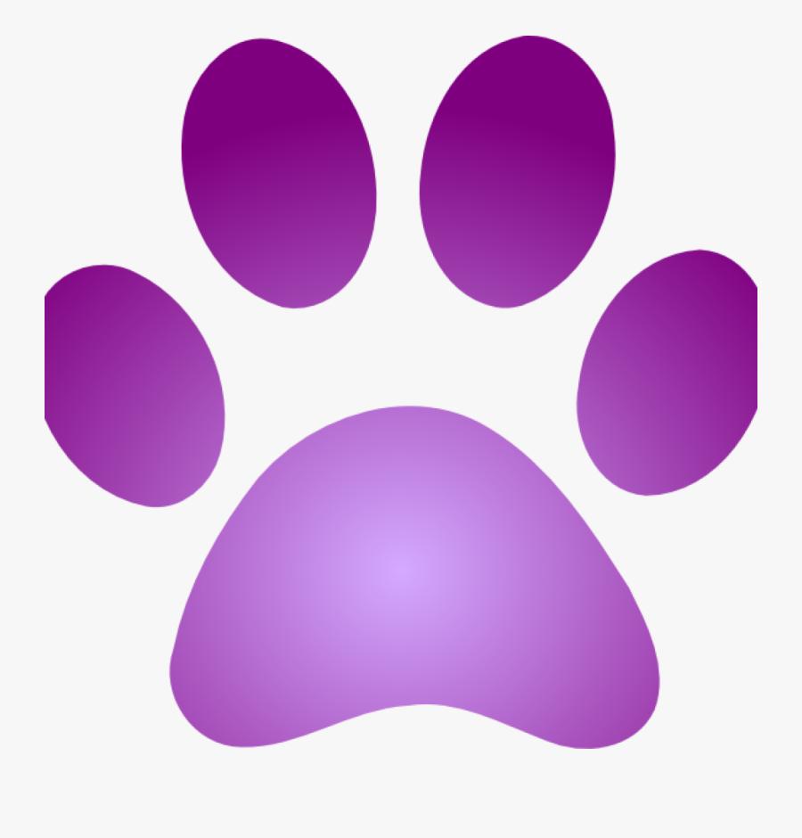 Purple Paw Print Purple Paw Print With Gradient Clip - Purple Dog Paw Print, Transparent Clipart