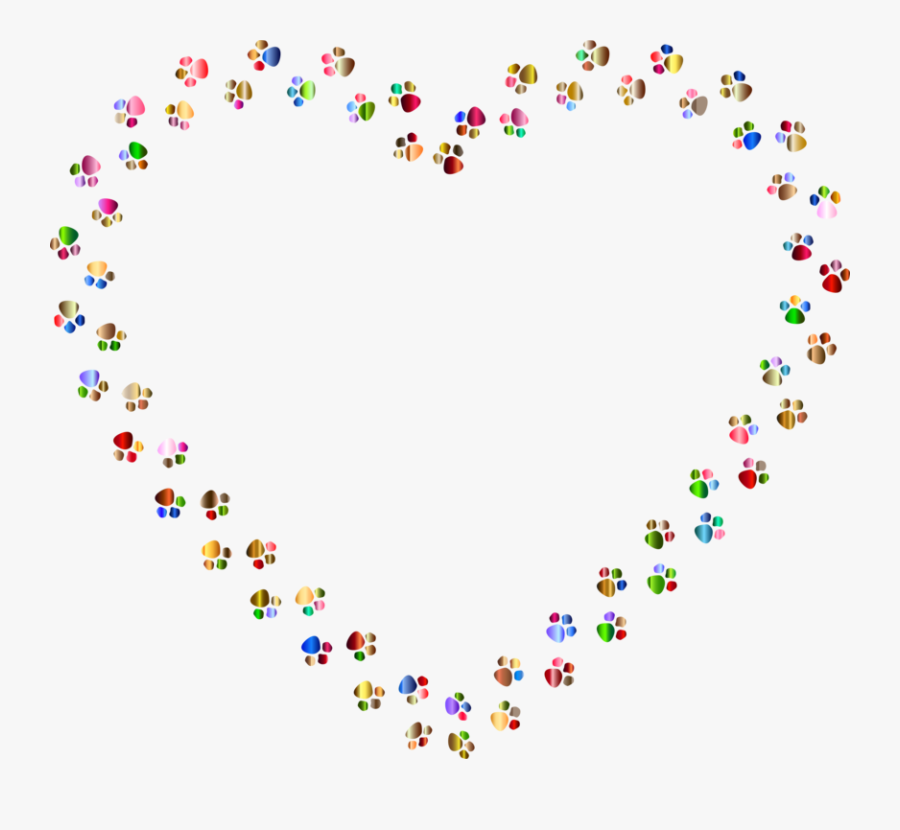 Heart,art,area - Colorful Paw Print Heart, Transparent Clipart