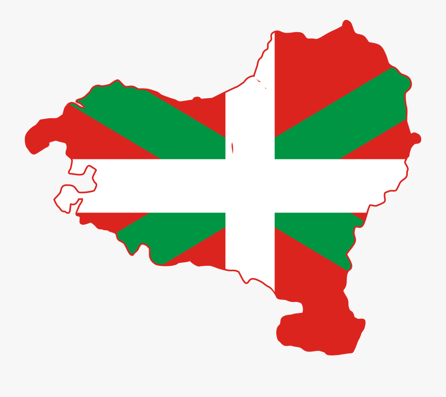 Flag Map Of Basque Country - Basque Country Flag Map, Transparent Clipart