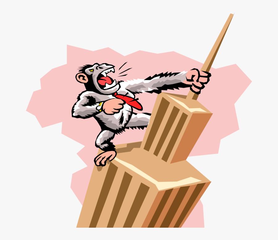 Vector Illustration Of Primate Gorilla King Kong Climbs - Cartoon Empire State Building King Kong, Transparent Clipart