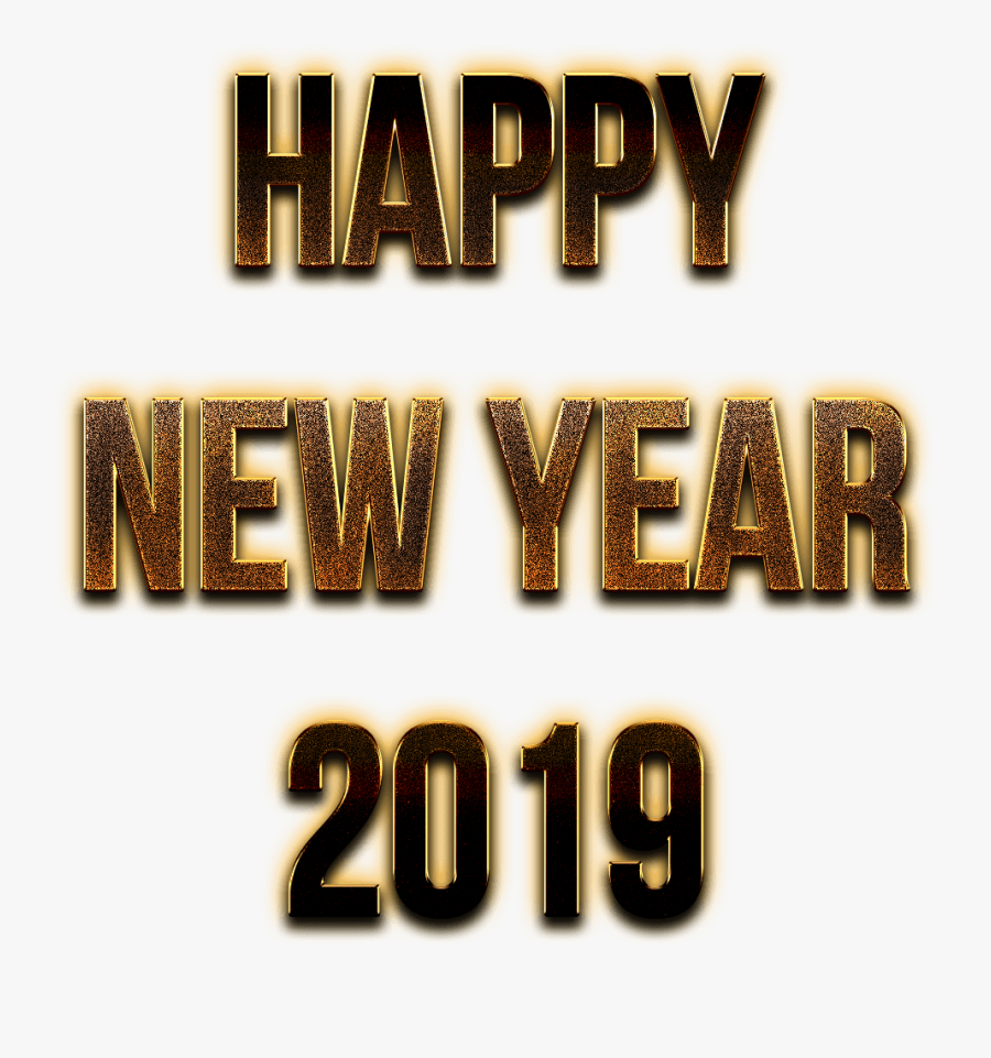 Happy New Year 2019 Golden Letters - Happy New Year 2019 Png Logo, Transparent Clipart