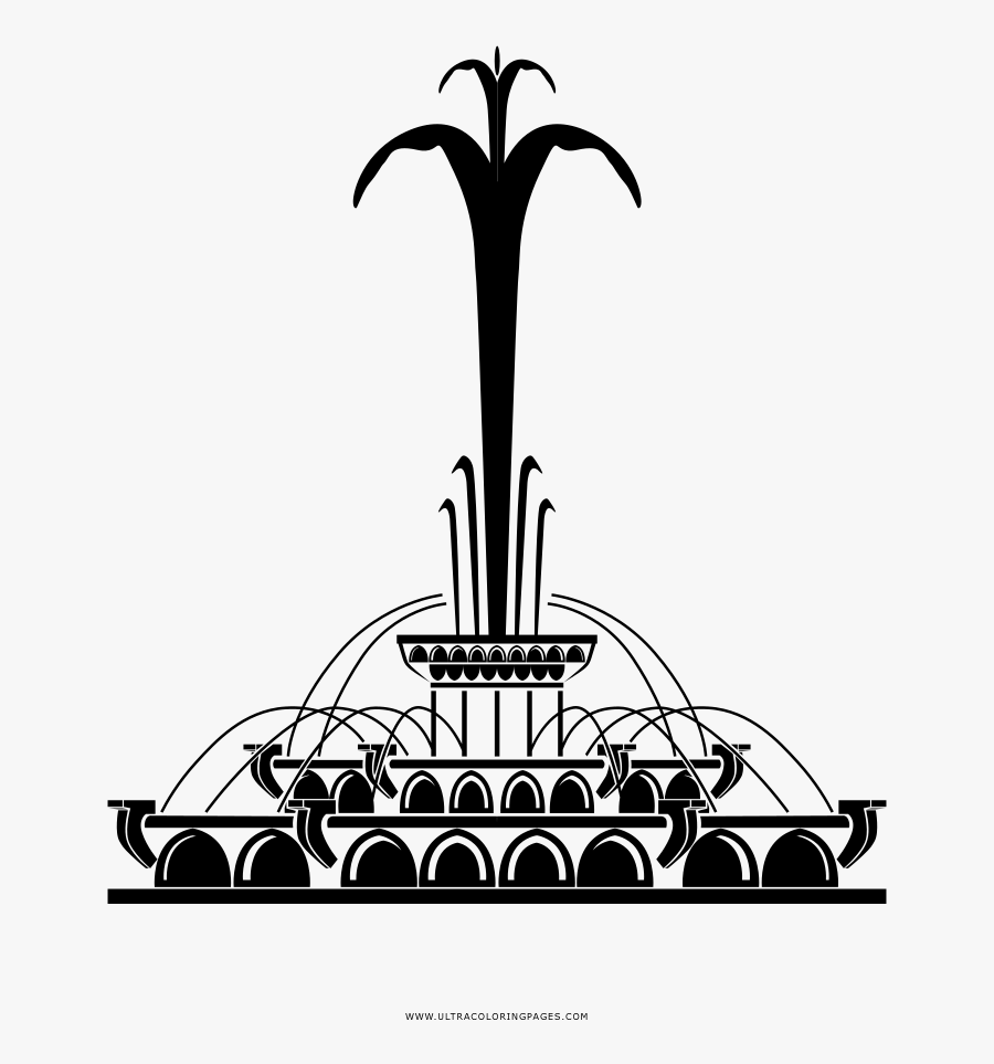 Transparent Fountain Clipart Black And White - Buckingham Fountain Chicago Vector, Transparent Clipart