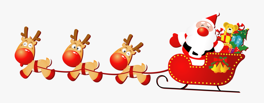 Santa Sleigh Png - Merry Christmas All, Transparent Clipart