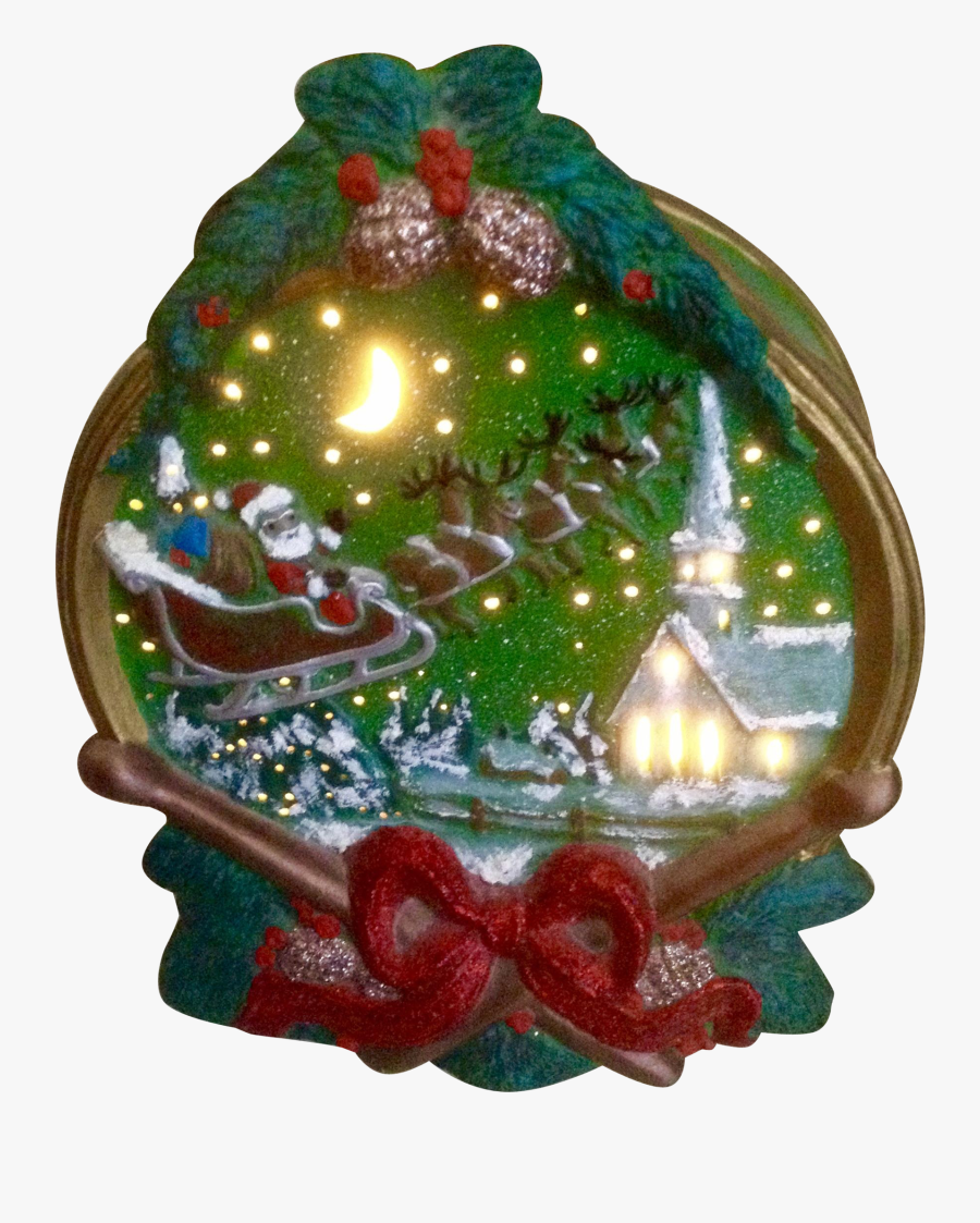 Vintage Christmas Night Light Santa Claus Sleigh And - Christmas Ornament, Transparent Clipart