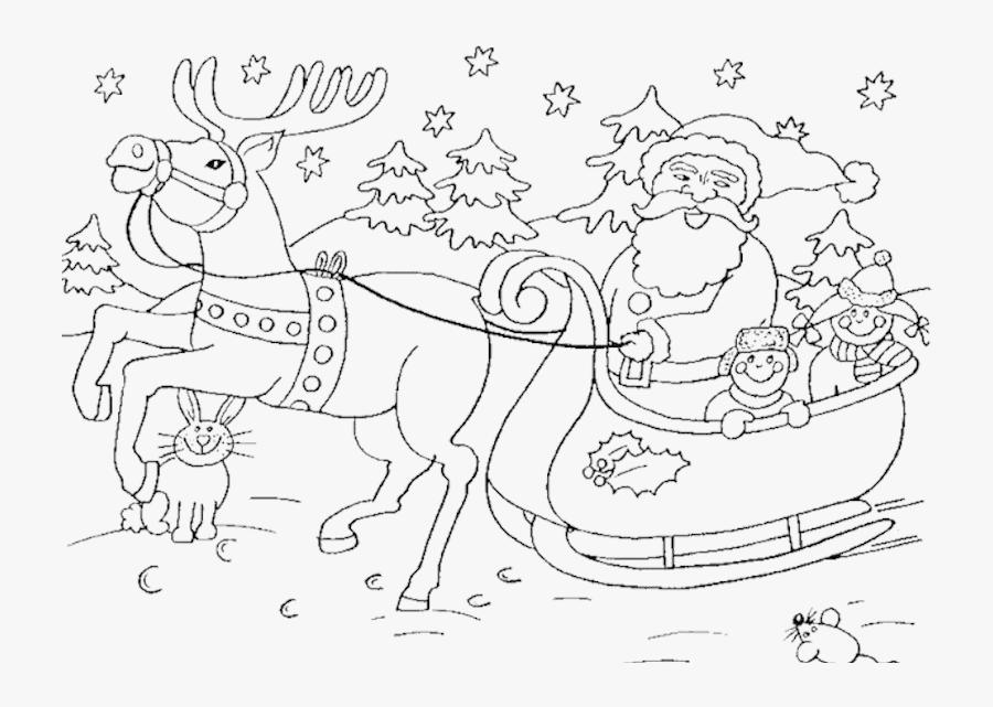 Transparent Santa Sleigh Clipart Black And White - Santa Sleigh Colouring Pages, Transparent Clipart