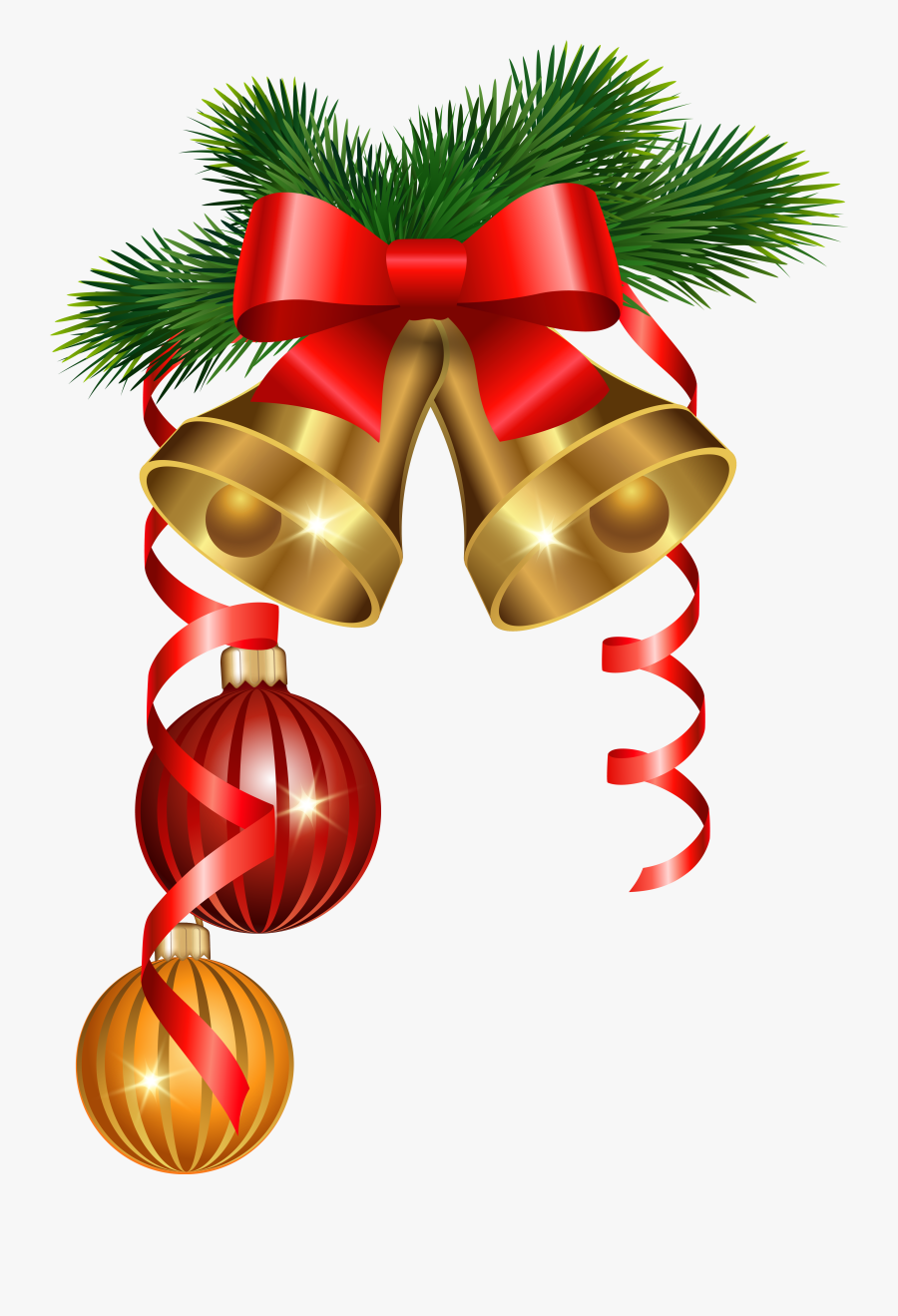 And Golden Tree Decoration Ornaments Christmas Bells - Christmas Background Bells Png, Transparent Clipart