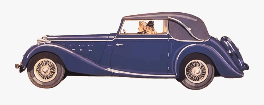 Driving A Classic Car Clipart - Vintage Car Png Transparent, Transparent Clipart