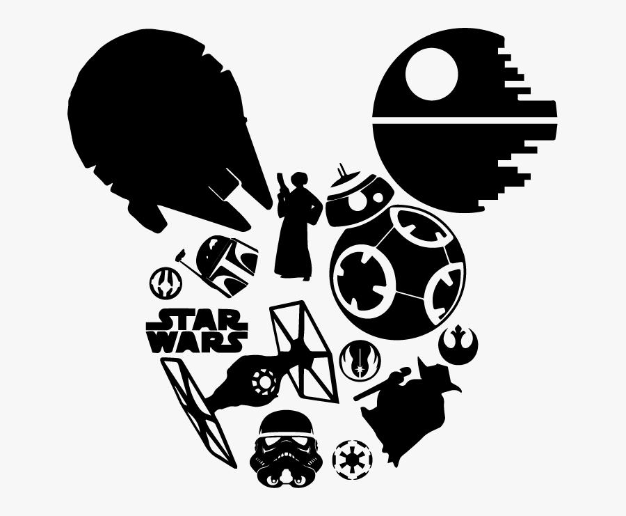Transparent Mickey Mouse Head Outline Clipart - Star Wars Disney Shirt Svg, Transparent Clipart