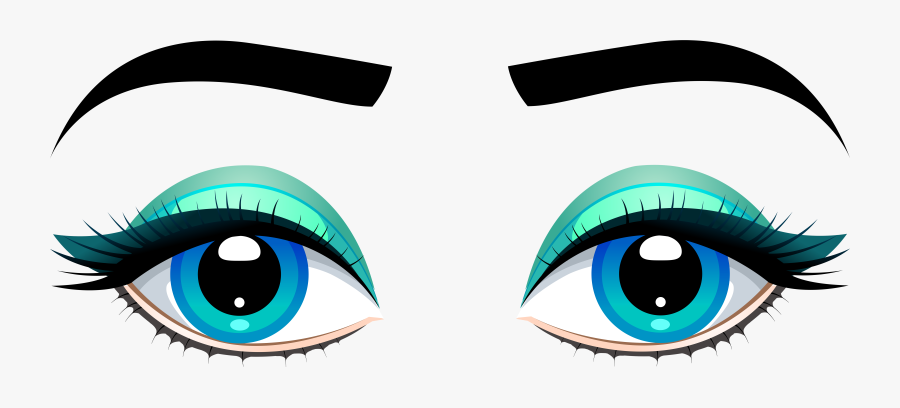 Female Blue Eyes With Eyebrows Png Clip Art - Eyes Clipart Transparent Background, Transparent Clipart