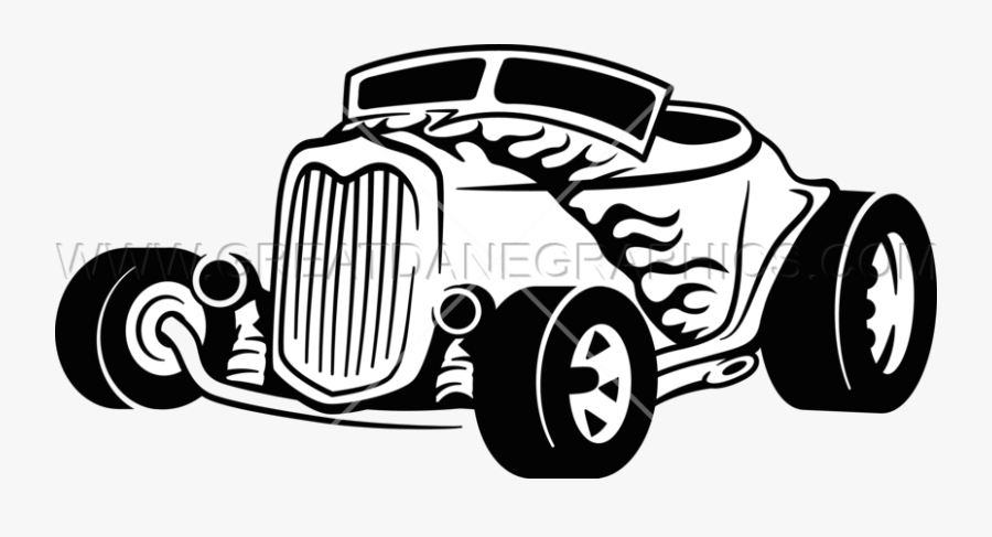 Hot Rod Vector Search Result Cliparts For Transparent - Black And White Hotrod Clipart, Transparent Clipart