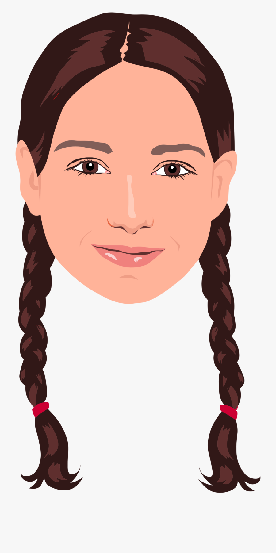 Hair Girl Cliparts - Girl With 2 Braids Clipart, Transparent Clipart
