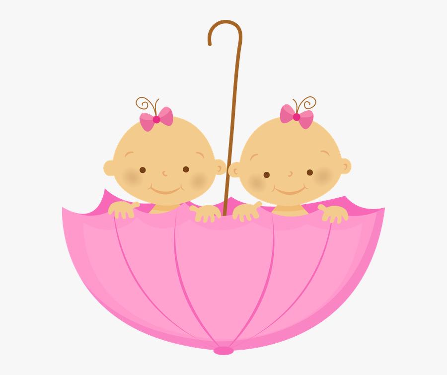 Gr Vida E Beb - Twin Girls Baby Cartoon, Transparent Clipart