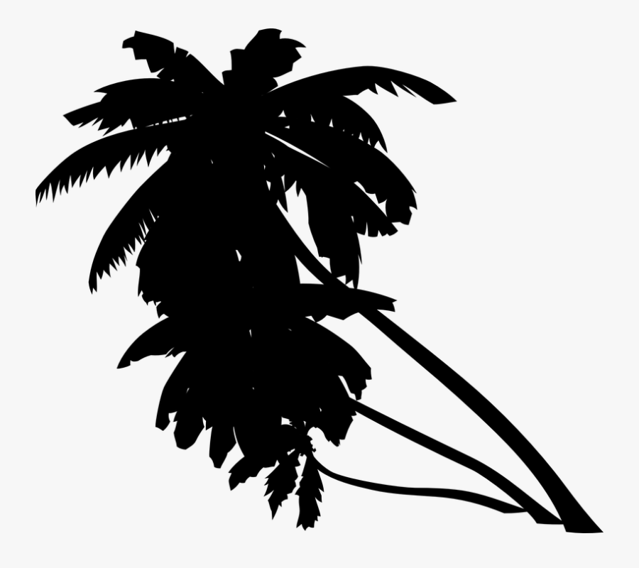 Palm Tree Leaves Clipart Black And White - Orange Palm Trees Clip Art, Transparent Clipart