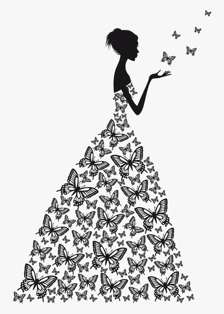 Wall Decal Wedding Png Image High Quality Clipart - Black Butterfly With Girl, Transparent Clipart