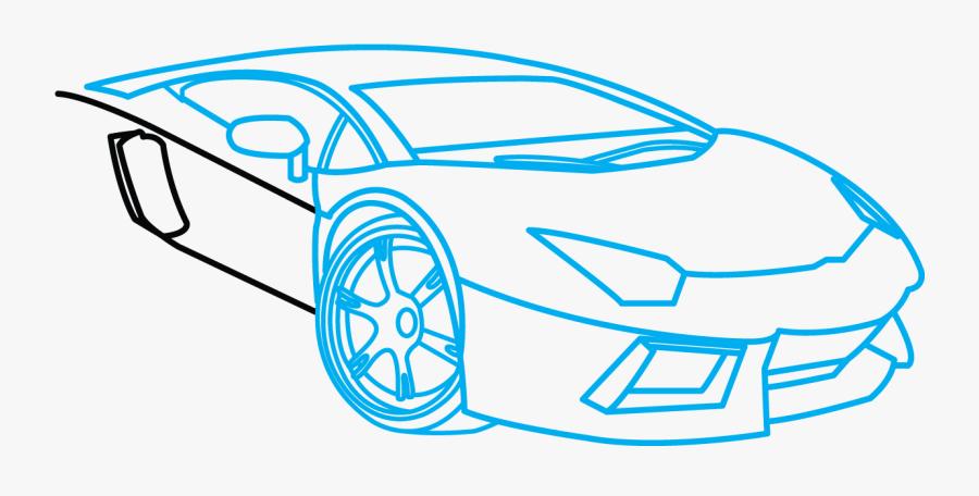 Dirtbike Drawing Step - Car How To Draw A Lamborghini Aventador, Transparent Clipart