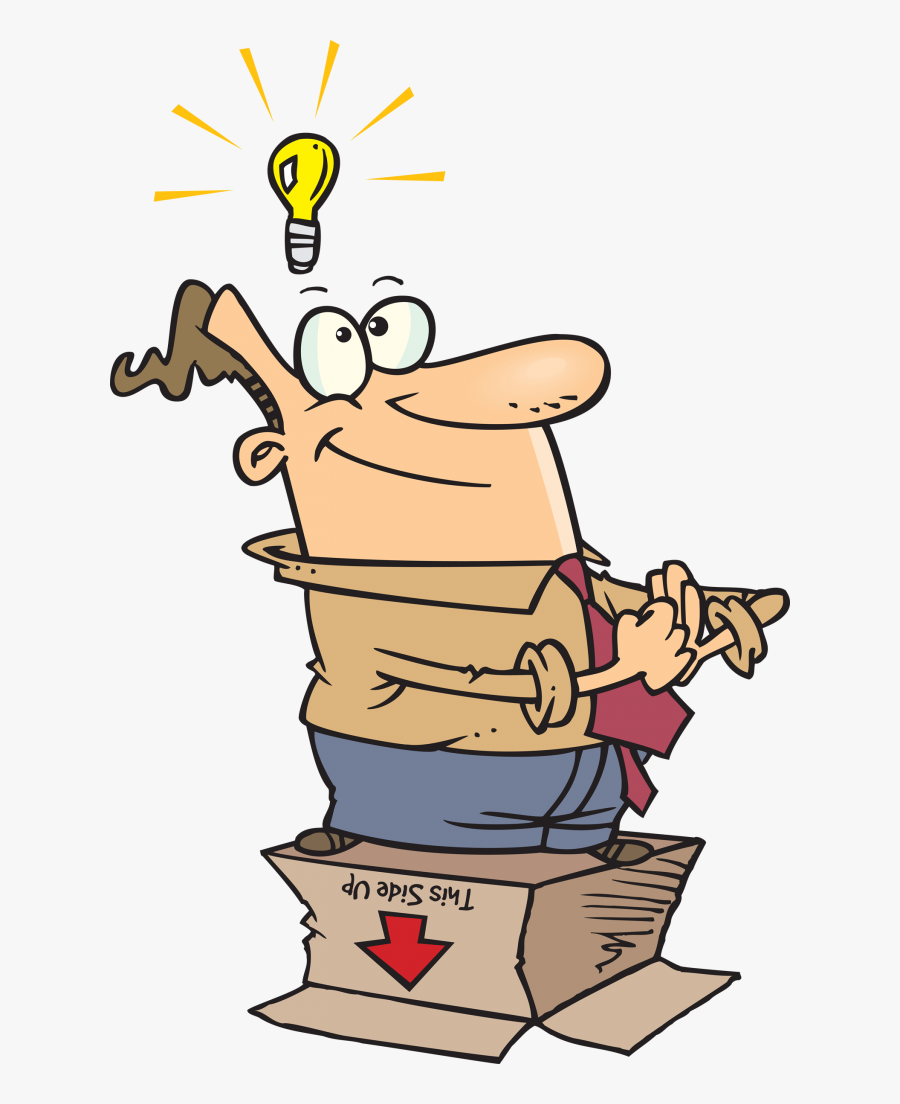 Dreaming Up A New Name For Your Business - Cartoon Outside The Box, Transparent Clipart