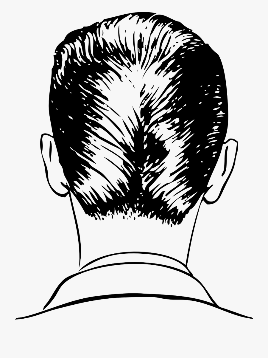 Back Of A Man's Head Drawing, Transparent Clipart