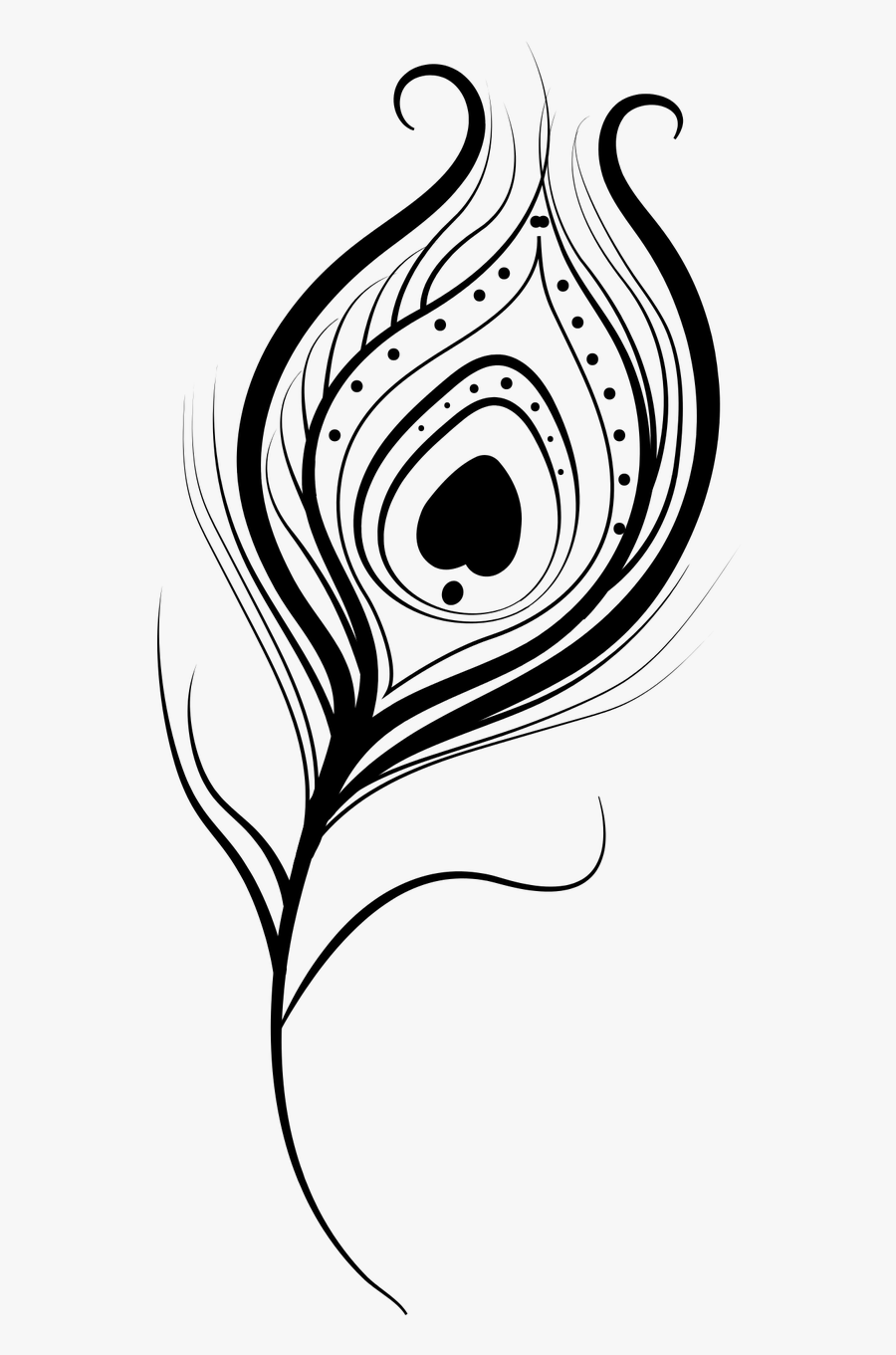 Feather Peacock Vector Isolated Png Image - Peacock Feather Png Black And White, Transparent Clipart