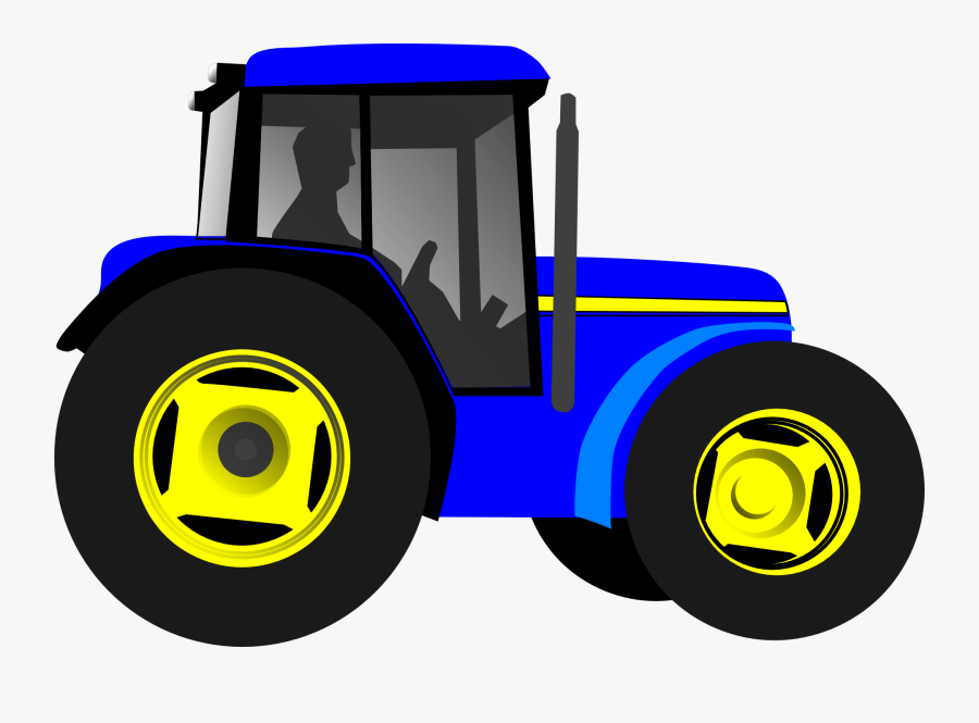 Transparent Farmer On Tractor Clipart - Blue Tractor Clip Art, Transparent Clipart