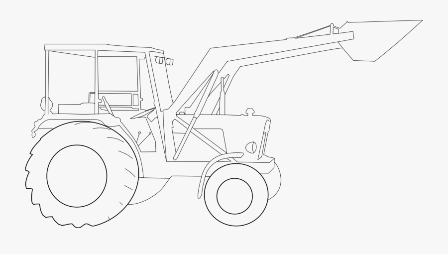 Line Art,angle,motor Vehicle - John Deere Tractor Drawing, Transparent Clipart