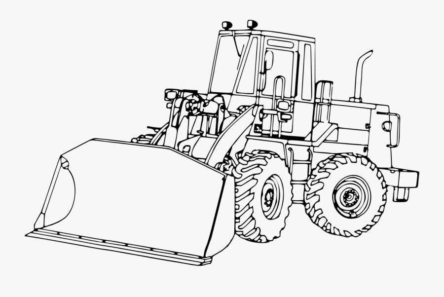 Line Art,angle,line - Black And White Front Loader Tractor, Transparent Clipart