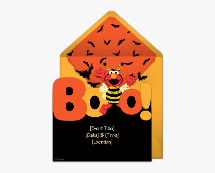 Free Elmo Boo Invitations Elmo, Halloween Parties And - Halloween Sesame Street Birthday Party Theme, Transparent Clipart