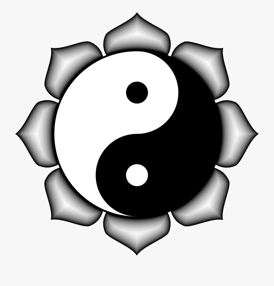 Simple Yin Yang Clip Art Medium Size - Yin Yang Lotus Flower, Transparent Clipart