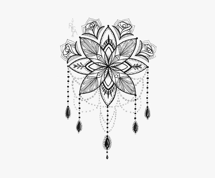 Tattoo Artist Lotus Print Mandala Drawing Clipart - Mandala Dream Catcher Drawing, Transparent Clipart