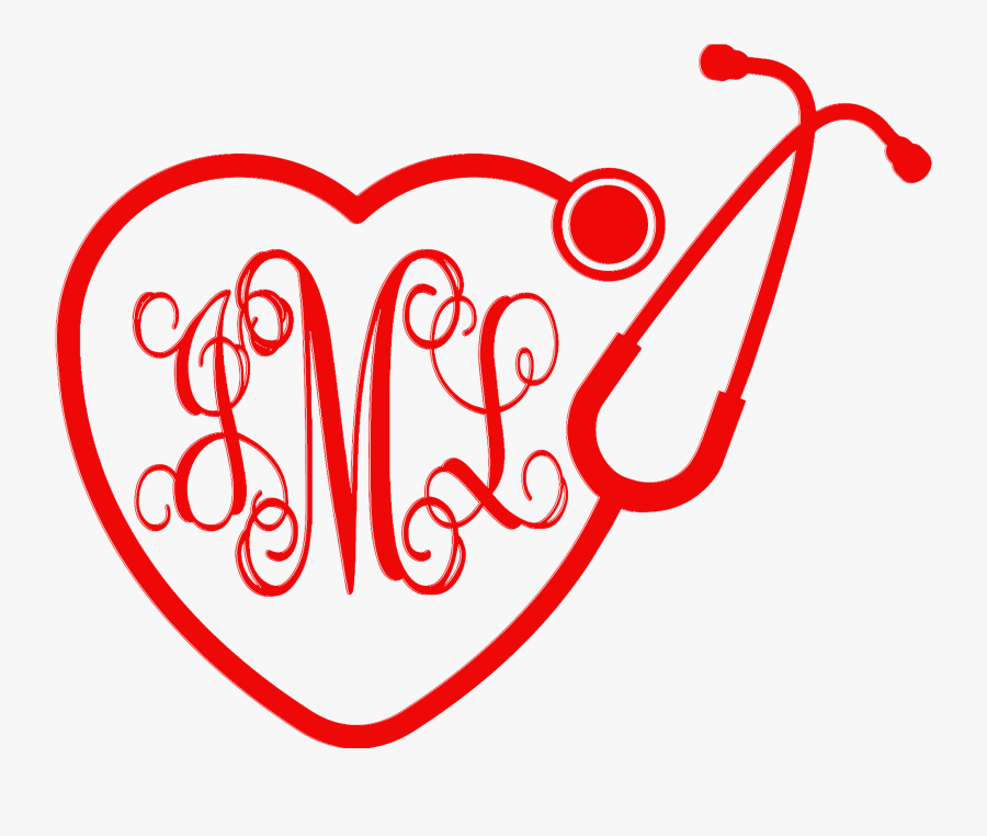 Monogrammed Heart Stethoscope Car Decal - Heart Stethoscope, Transparent Clipart